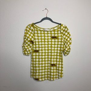 Tops - Anthropologie Postage Stamp yellow cheetah top